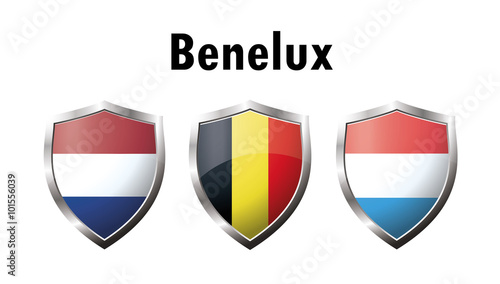 A set of Benelux countries flag  icon Canvas Print
