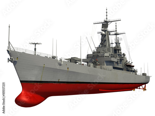 Photo  Modern Warship Over White Background