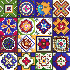 Panel SzklanyTalavera mexican tiles seamless pattern