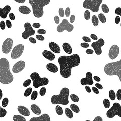 Panel Szklany Pies Paws print seamless pattern. Vector background with doodle dogs paws.