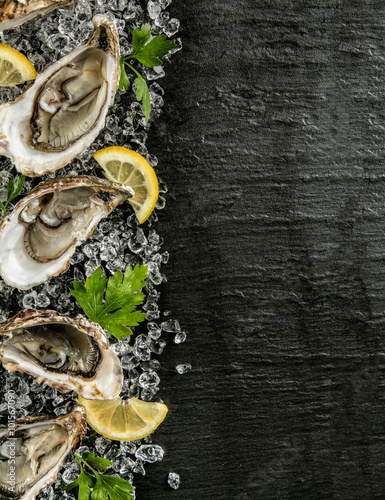 Poster Coquillage Oysters served on stone plate with ice drift