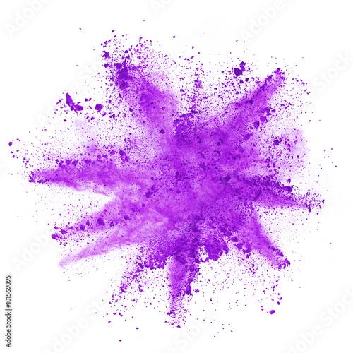 Explosion of purple powder on white background