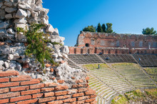 Section Of The Upper Perimetral Wall Of The Greek Theater And Its Bleachers, Taormina, Sicily