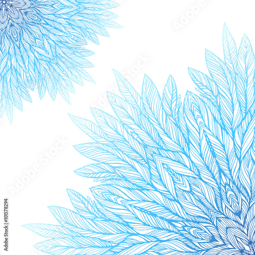 Fototapeta  two blue mandala, a circular pattern on a white background, vector illustration