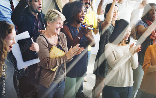 Team Teamwork Meeting Success Happiness Concept Canvas Print