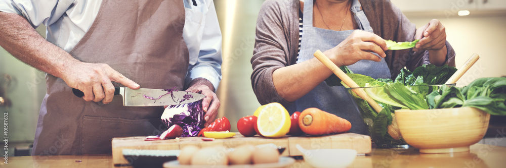 Fotografie, Obraz  Family Cooking Kitchen Food Togetherness Concept