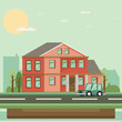 Flat Residential House. Vector illustration.