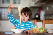 Cute Little Boy, Eating Spaghe...