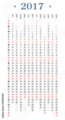 Fototapeta Year 2017 simple vertical calendar obraz na płótnie