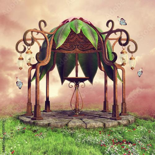 Baśniowa altana z motylami i lampionami na wiosennej łące - 101597458
