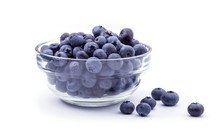 Ripe Blueberries In Bowl Isola...