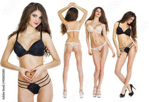 Fototapeta Collage Models. Beautiful full body brunette beauty women obraz na płótnie