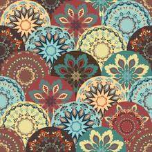 Seamless Pattern In Oriental Style, Flourish Background