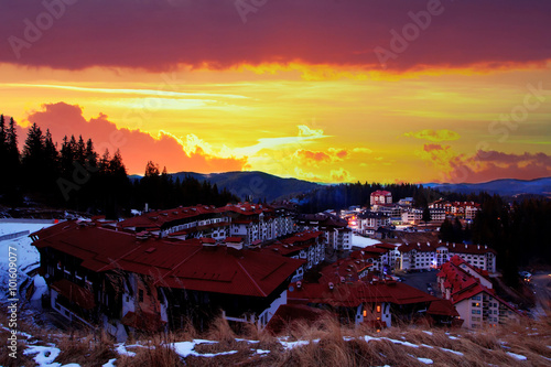 Poster Crimson HDR red sunset over the Pamporovo resort, Bulgaria