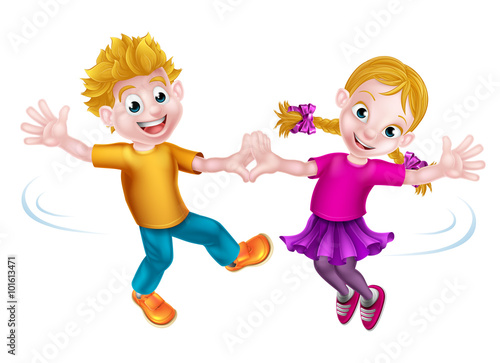 Photo Stands Indians Cartoon Children Dancing