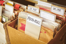 Retro Styled Image Of Boxes With Vinyl Turntable Records