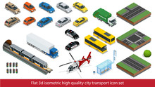 Isometric High Quality City Transport Icon Set Subway Train, Police, Taxi Truck Car Mini, Sedan Helicopter, Street Road, Tram, Sedan, Building Mixer, Ambulance. Flat 3d Vector Isometric Illustration