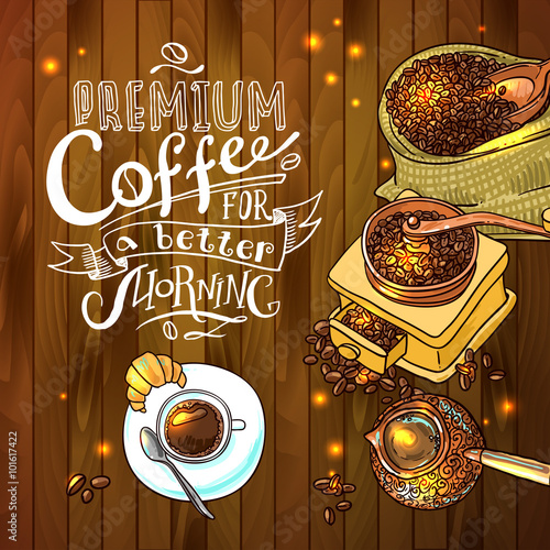 Photo  sketch illustration coffee
