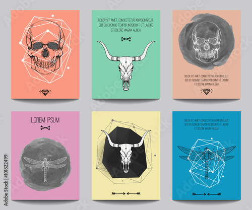 Poster de jardin Crâne aquarelle Vector set of modern posters with human skulls, bull skulls, dragonflies, geometrical shapes. Trendy hipster style for flyers, banners, brochures, invitations, business contemporary design.