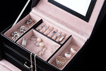 Jewelry Box With White Gold And Silver Rings, Earrings And Pendants With Pearls. Collection Of Luxury Jewelry.