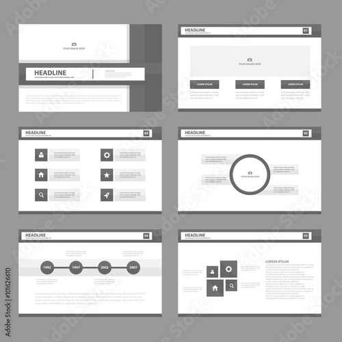 Fototapeta Black presentation templates Infographic elements flat design set for brochure flyer leaflet marketing advertising obraz na płótnie