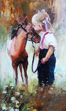 Oil Painting Of Little Girl Petting Her Best Friend Pony At Countryside Outdoors