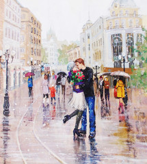 Fototapetapainting, a pair of lovers under an umbrella,