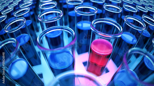 3D rendered blue laboratory test tubes with red positive results Canvas Print