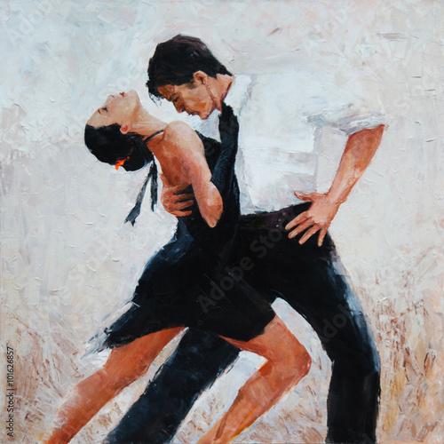 Fényképezés  tango dancers digital painting, tango dancers