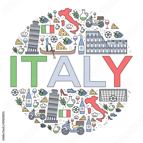 Fotomural Country Italy travel vacation guide of goods, places and features