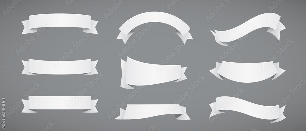 Fototapeta Set of White Paper Ribbons