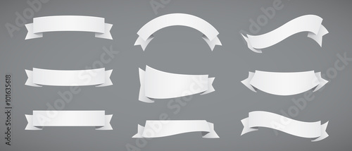 Set of White Paper Ribbons Fototapet