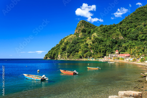 Photo Stands Caribbean Boats on Soufriere Bay, Soufriere, Dominica