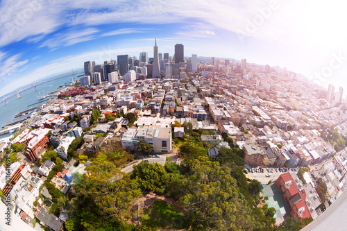 Fotografie, Obraz  Fisheye view of San Francisco panorama from hill