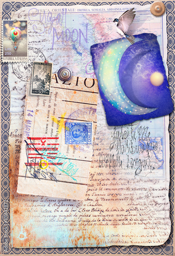 Canvas Prints Imagination Collage,patchwork,scrapbook and graffiti with starry moon