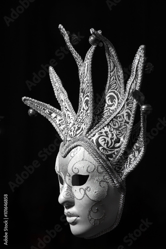 obraz lub plakat Isolated Silver Venetian mask on a black background
