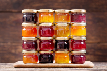 Fototapeta various jars of fruit jam