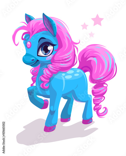fototapeta na ścianę Cute cartoon little blue horse with pink hair