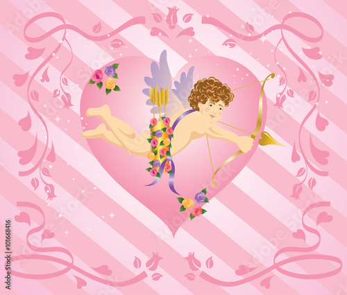 Fototapety, obrazy: Cupid with arrow and roses