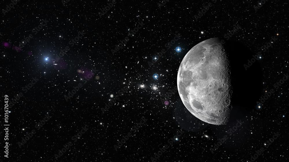 Planeta Księżyc w kosmosie. Elementy tego obrazu dostarczone przez NASA <span>plik: #101670439 | autor: mode_list</span>