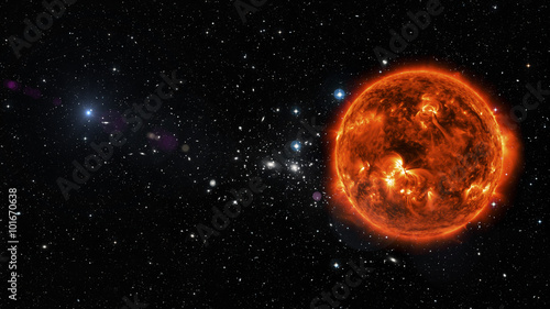 Fototapety, obrazy: Sun in outer space. Elements of this image furnished by NASA