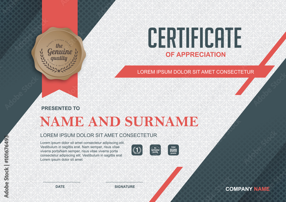 Fototapety, obrazy: certificate template with clean and modern pattern,Qualification certificate blank template with elegant,Vector illustration