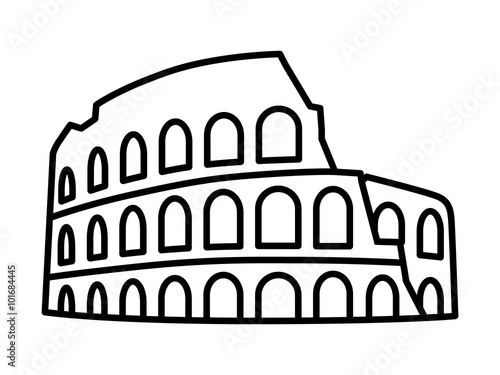 Fotografia, Obraz  Colosseum / Coliseum in Rome, Italy line art icon for travel apps and websites