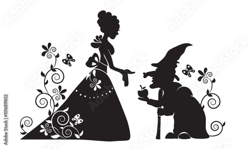 Fototapeta  The silhouette of Snow white and the evil witch.