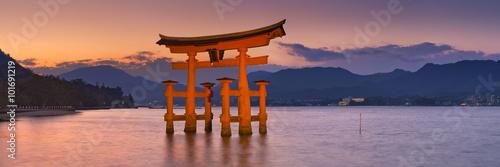 Miyajima torii gate near Hiroshima, Japan at sunset
