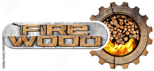 Firewood - Wooden Symbol / Wooden symbol in the shape of gear with a pile of firewood with flames and text Firewood Wallpaper Mural