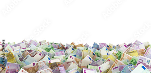 Fotografia  Euro banknotes at the ground, white background