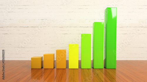 Fotografía  3d rendering of a chart. Growing graph