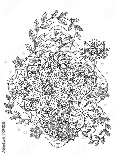 Photo  attractive floral coloring page