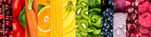 Poster Vruchten collage of colorful healthy fruits and vegetables